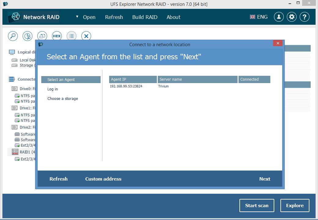 UFS Explorer Network RAID (for Windows) version 7